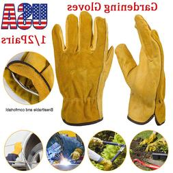 1/2 Pairs Heavy Duty Gardening Gloves Thorn Proof Leather Wo