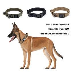 "1.5"" Tactical HEAVY DUTY Adjustable Dog Collar w/ Strong Han"
