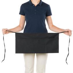 1 new heavy duty cocktail apron black 12x20 3 pockets tips s