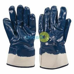 1 X Jersey Lined Nitrile Gloves High Grip For Heavy Duty Con