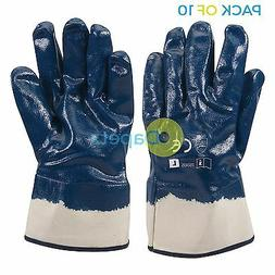 10 X Jersey Lined Nitrile Gloves High Grip For Heavy Duty Co