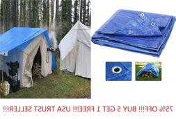10'x12' Blue Tarps All Purpose Water Proof Heavy Duty Reinfo