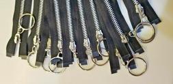 """10 Zippers Heavy Duty Metal 21"""" Sport Jacket Fashion Black P"""