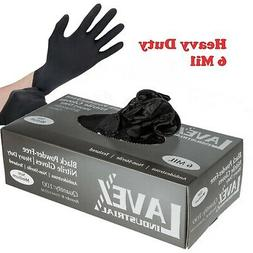 100 ct Powder-Free Black Nitrile 6 Mil Heavy-Duty Gloves - M