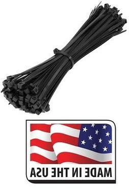 "HEAVY DUTY 120LB 8"" UV RESISTANT BLACK CABLE ZIP TIES Made"