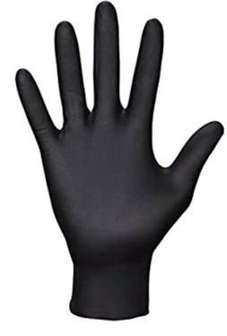 100 Pack Black Gloves Powder Free Nitrile Rubber Heavy Duty