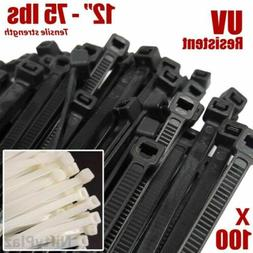 """100 Zip Ties 12"""" Heavy Duty 75 lbs Cable Cord Strap Wire Nyl"""