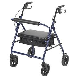 Drive Medical 10216BL-1 Bariatric Rollator with Wheels, Blue