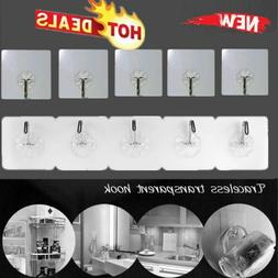 10Pc Clear Adhesive Hooks Magic Hook Heavy Duty Wall Hooks W
