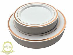 110 Pcs Heavy Duty Elegant Rose Gold Plastic Disposable Dinn