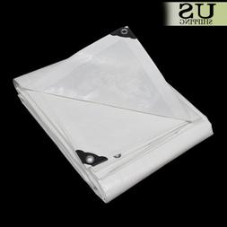 12 mil Heavy Duty Reinforced Canopy Tarp WHITE 3pl Coated Te