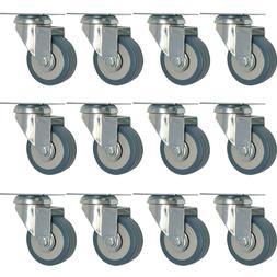 12 pack 2-Inch Heavy Duty Swivel Wheel Rubber  Plate Caster