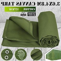 12'x 16' Canvas Tarp 3.6X4.8M Green Cotton Tarpaulin 18 OZ W