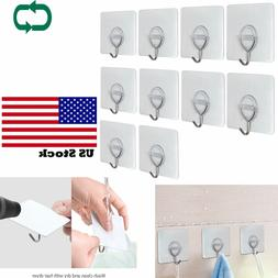12X Adhesive Wall Hook Stainless Heavy Duty Hanger 5kg Max T