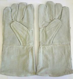 "13"" Leather Gauntlet Gloves for Welding Construction or Heav"