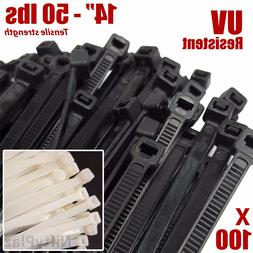 NiftyPlaza 14 Inch Cable Ties - Heavy Duty - 50 LBS 100 Pack