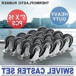 16 pack Swivel Casters Heavy Duty Caster Wheels 5 Inch X 1-1