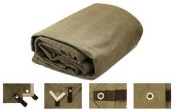Heavy Duty Canvas Tarp Tarpaulin 100% Cotton Olive Drab 18 o