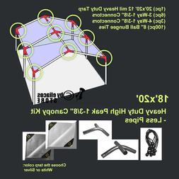 18'x20' Heavy Duty 1-3/8'' High Peak Carport Canopy Kit *PIP