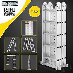 19.5ft Multi Purpose Aluminum Telescopic Ladder Heavy Duty F