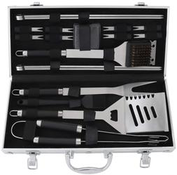 19 PCS BBQ Grill Tools Set Heavy Duty Stainless Steel with A