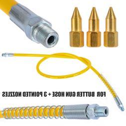 1m Yellow Rubber Heavy Duty Grease Gun Whip Hose High Pressu