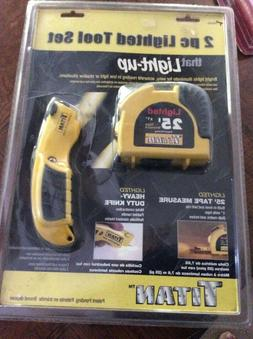 2 PC LIGHTED TOOL SET TAPE MEASURE AND HEAVY DUTY KNIFE TITA