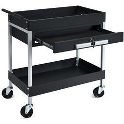 2 Shelf Tool Cart Utility Carrier Service Heavy Duty w/ Lock