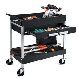 2 Shelf Tool Cart Utility Cart Service Cart Heavy Duty w/Loc
