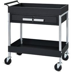 2 Shelf Tool Cart Utility Service Cart Heavy Duty w/Lock Dra