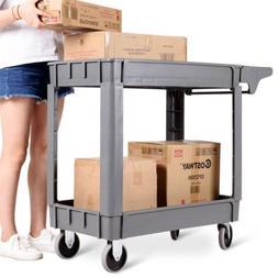 2 Shelves Plastic Utility Rolling Service Tool Cart Heavy Du