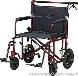 """22"""" Heavy Duty Transport Wheelchair Light Compact Folding AT"""