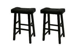 "24"" Faux Leather Padded Seat Heavy Duty Saddle  Bar Stools i"