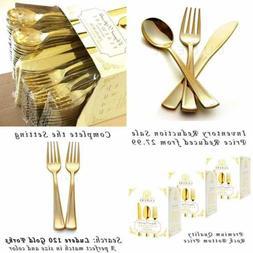 240 Pc Premium GOLD Plastic Cutlery Extra Heavy Duty W Brigh