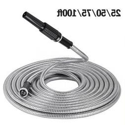 25-100Ft Stainless Steel Metal Garden Water Hose Lightweight