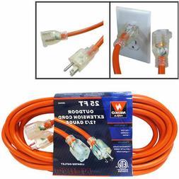 25 foot Extension Cord Lighted 12/3 Gauge Indoor Outdoor Pro