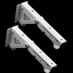 2Pcs Folding Shelf Brackets White Board Brackets Heavy Duty