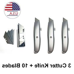 3 Heavy Duty Box Cutter Retractable Blade Metal Utility Knif