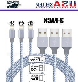 3 Pack 6 Ft Lightning Cable Heavy Duty iPhone 6S 7 8 plus Ch
