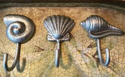 3 Sea Shell Shaped Silver Hooks Heavy Duty Chrome Wall Decor