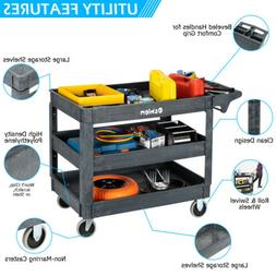 3 Shelf Heavy Duty Utility Cart with Wheels for Tools Worksh