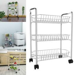 3 Tiers Shelves Rolling Utility Cart Steel Wire Storage Tool
