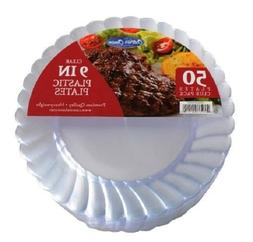 """300 9"""" Clear Heavy Duty Plastic Disposable Dinner Plates Cat"""