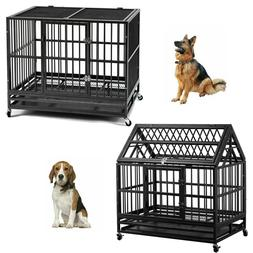 "36"" Heavy Duty Dog Cage Pet Crates with Wheels Removable Tra"
