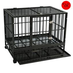 Dog Crate Large Kennel Cage Heavy Duty Metal Playpen W/Wheel