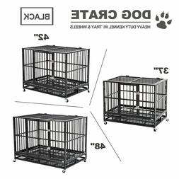 """37""""/42""""/48""""  Dog Crate Large Kennel Pet Cage Heavy Duty W/Tr"""