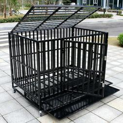 37''/42''/48'' Heavy Duty Dog Cage Large Crate Square Tube P