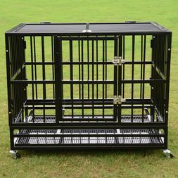 """37""""/42""""/48"""" Heavy Duty Dog Cage Crate Kennel Metal Pet Playp"""
