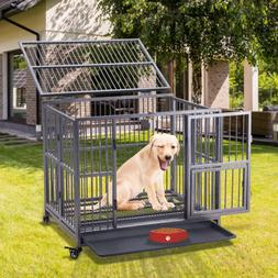 """37""""/43""""/49""""Heavy Duty Strong Metal Pet Dog Cage Crate Kennel"""