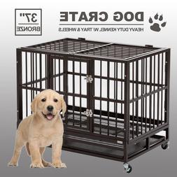"""37"""" Dog Crate Kennel Heavy Duty Cage Metal Pet Double Door P"""